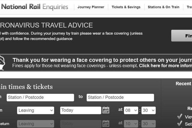 Passengers complain as they can't read the National Rail website after it's turned black and white in mourning of the Duke of Edinburgh.