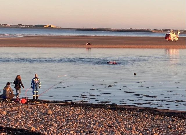 The team were paged to reports of three children in trouble in the water in the Tong area picture: Stornoway Coastguard Rescue Team