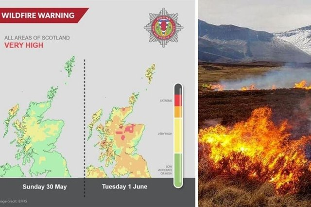 'Very high risk' of wildfires across all of Scotland this weekend warns the Scottish Fire and Rescue Service.
