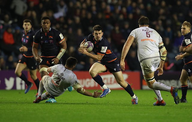 Matt Scott in action for Edinburgh against Bordeaux during the European Rugby Challenge Cup at Murrayfield Stadium.