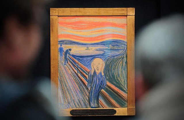 People view the Norwegian artist Edvard Munch's 'The Scream' at Sotheby's auction house in central London in April 2012 (Photo: CARL COURT/AFP via Getty Images)