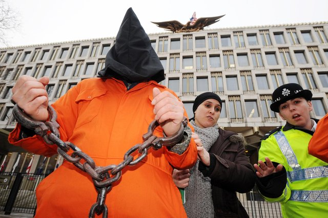 The controversial US detention centre at Guantanamo Bay in Cuba saw protests outside the US embassy in London. Now British nationals are being similarly unlawfully detained in camps in Syria (Picture: Fiona Hanson/PA)