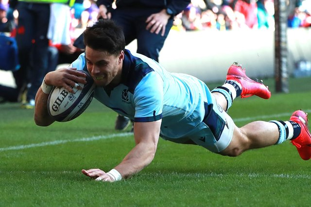 Sean Maitland scores Scotland's first try during their last 2020 Guinness Six Nations match against France way back in March. Picture: David Rogers/Getty Images