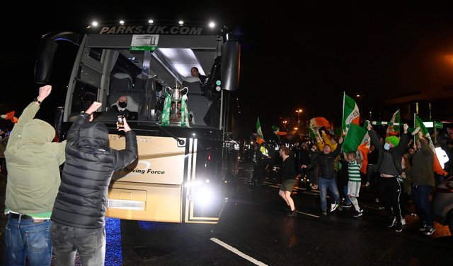Celtic fans greet the team bus after the William Hill Scottish Cup Final between Celtic and Hearts at Hampden Park, on December 20, 2020, in Glasgow, Scotland. (Photo by Rob Casey/SNS Group via Getty Images)