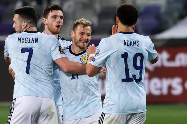 Scotland winger Ryan Fraser (centre) celebrates his equaliser against Israel in Tel Aviv (Photo by Seffi Magriso / SNS Group)