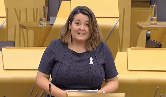 The SNP's Ruth Maguire addressing fellow MSPs at Holyrood