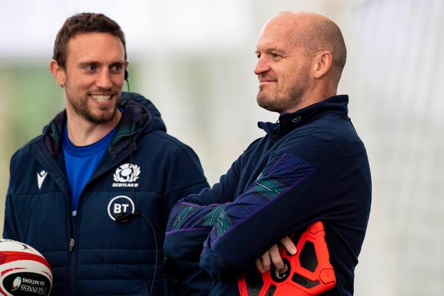 Mike Blair, left, will be Scotland's interim head coach on the summer tour while Gregor Townsend is away with the Lions. Picture: Craig Williamson/SNS