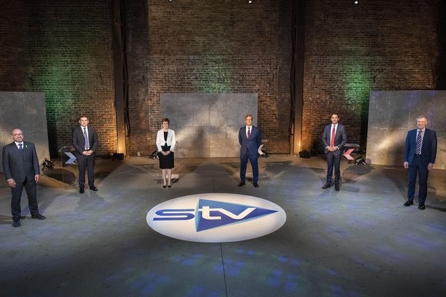 The five leaders of Scotland'smain political parties – (L-R)Patrick Harvie (co-leader of the Scottish Green Party), Willie Rennie (Scottish Liberal Democrats), Douglas Ross (Scottish Conservatives), Anas Sarwar (Scottish Labour) and Nicola Sturgeon (Scottish National Party). Picture: STV/Kirsty Anderson