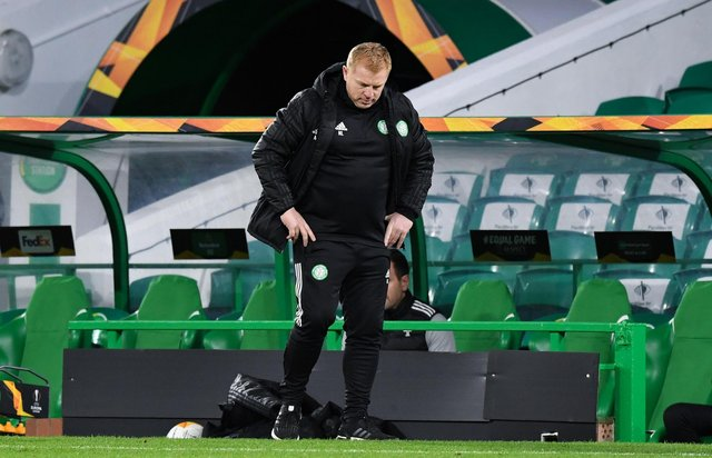 Celtic manager Neil Lennon cuts a frustrated figure during his side's Europa League loss against Milan. Picture: SNS