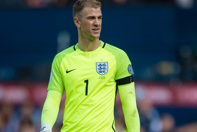 New Celtic keeper Joe Hart in action for England...his early displays for his country leading to team-mate and now Rangers rival Steven Gerrard declaring he would become the best keeper in the world. (Photo by SNS Group/Bill Murray).