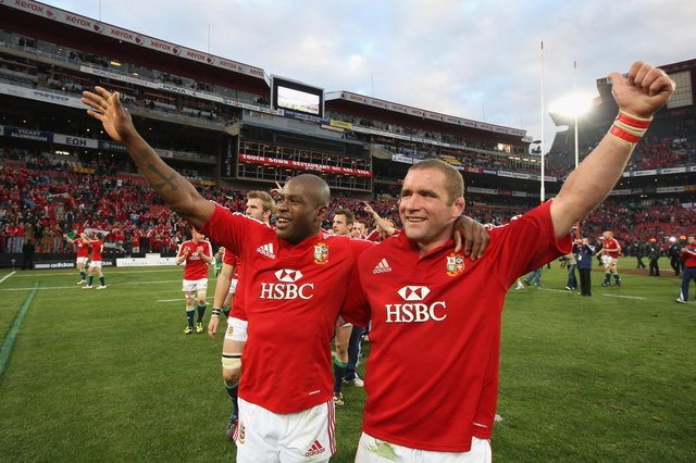 Ugo Monye and Phil Vickery celebrate victory in the third Test against South Africa at altitude at Ellis Park in Johannesburg in 2009. Picture: David Rogers/Getty Images