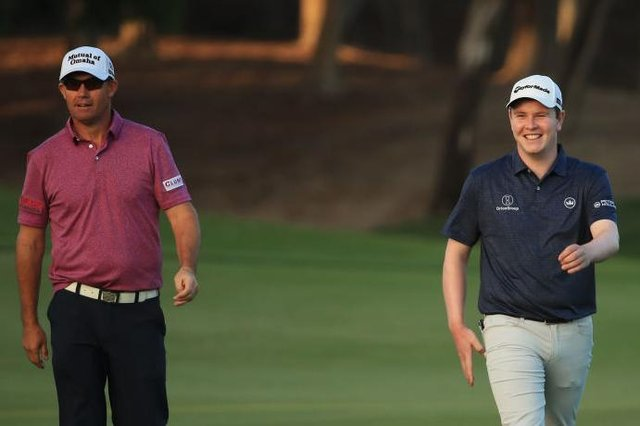 Padraig Harrington and Bob MacIntyre during the second round of last week's  Abu Dhabi HSBC Championship. Picture: Andrew Redington/Getty Images.