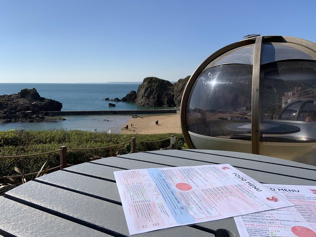 The view over Hope Cove from the Lobster Pod Bistro, Devon.
