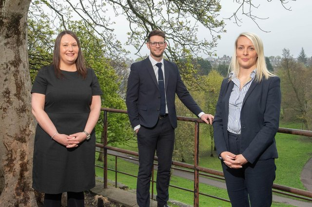 The promotions include, from left, Leanne Warrender (partner), Danny Anderson (senior solicitor) and Kayleigh MacLaren (director). Picture: Michal Wachucik.