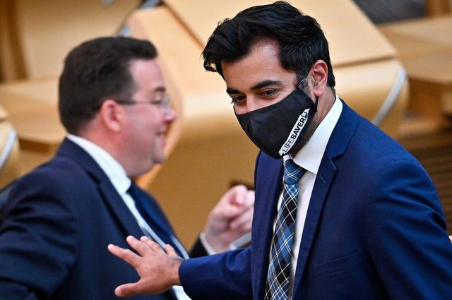 Humza Yousaf Cabinet Secretary for Health and Social Care arrives for the statement at the Scottish Parliament in Edinburgh, on the next stage of lockdown easing. Picture date: Tuesday June 1, 2021.