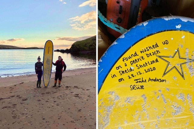 A surfboard that washed up on a Shetland beach last year has been returned to its rightful owner - who lost it more than 400 miles away.