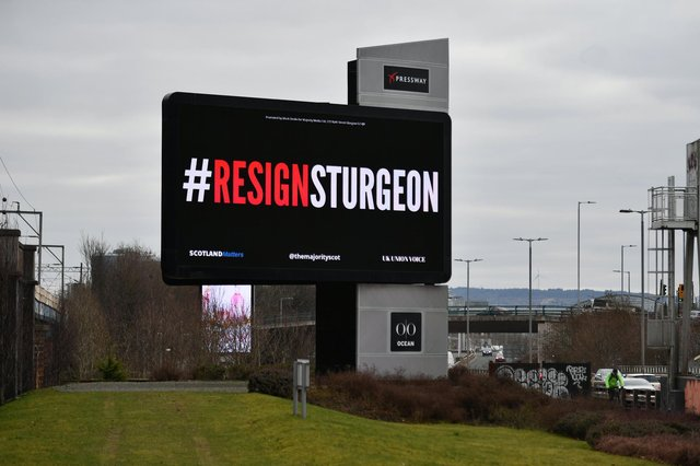 Today, The Majority, with the support of Scotland Matters, UK Union Voice and 'over 250 donors' who contributed to a crowdfunding campaign, launches the #ResignSturgeon campaign, the first in a series of campaigns leading up to the Scottish Elections on May 6 picture: John Devlin