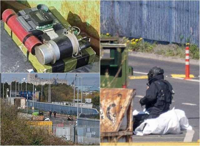 A member of the bomb disposal unit inspects the object. Pictures: Supplied/ Andy O'Brien