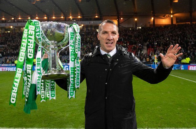 Brendan Rodgers with the 2018 League Cup which brought him a seventh-straight trophy as Celtic manager - a feat never before achieved in the Scottish game. (Photo by Craig Wiliamson/SNS Group).