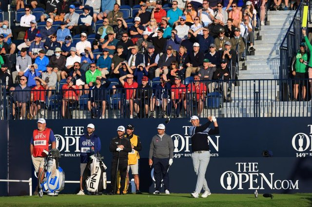 Richard Bland hits the opening tee shot off the first during the opening round of the 149th Open at Royal St George's. Picture: Chris Trotman/Getty Images.