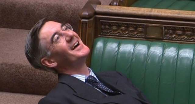 Jacob Rees-Mogg sitting on the front benches of Parliament. Picture: PA