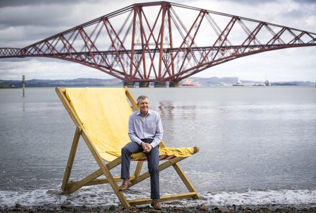 Liberal Democrat leader Willie Rennie relaxes in a deckchair at the launch of his party's campaign.