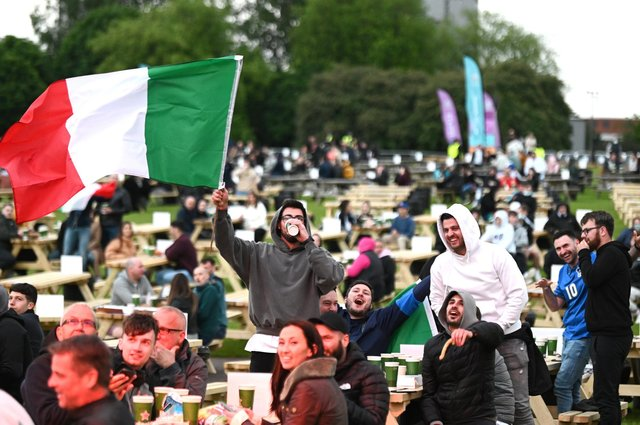 Supporters inside the Glasgow Green fan zone as Italy defeated Turkey 3-0 in the opening game of Euro 2020. Picture: John Devlin