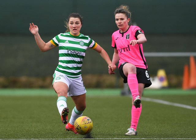 EAST KILBRIDE, SCOTLAND - APRIL 04: Celtic's Keeva Keenan (L) in action with Jo Love of Glasgow City during the SWPL match between Celtic and Glasgow City at K-Park, on April 04, 2021, in East Kilbride, Scotland. (Photo by Craig Foy / SNS Group)