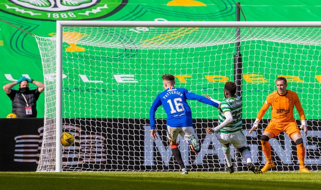 Celtic's Odsonne Edouard  with one of the glaring misses that thwarted his team's hopes of derby victory. (Photo by Alan Harvey / SNS Group)