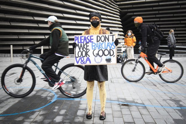 Extinction Rebellion protesters outside the V&A in Dundee