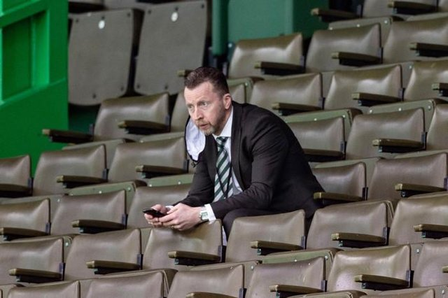 Celtic head of football operations Nick Hammond watches on from the stands (Photo by Craig Williamson / SNS Group)