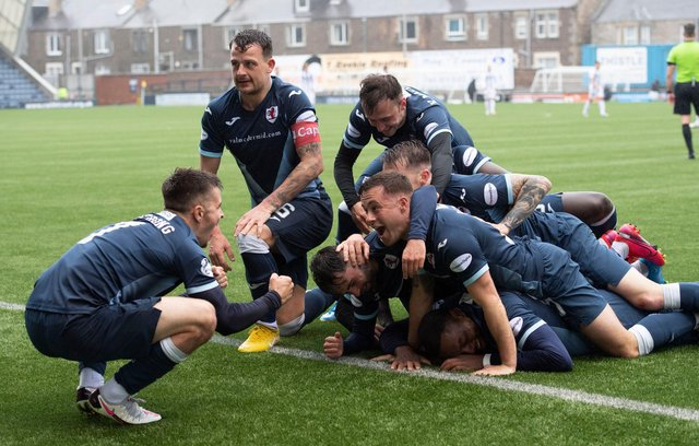 Raith Rovers players celebrate scoring against Dunfermline on Saturday.