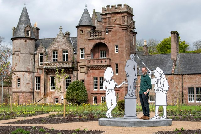 Mick Peter with some of his newly-installed work at Hospitalfield