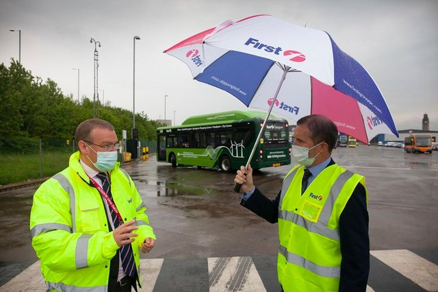 Andrew Jarvis of First Bus with Transport Secretary Michael Matheson. Picture: First Bus