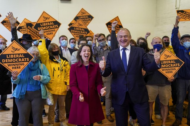 Liberal Democrat leader Ed Davey and the party's new MP for Chesham and Amersham, Sarah Green, celebrate after a shock by-election victory over the Conservatives (Picture: Steve Parsons/PA Wire)
