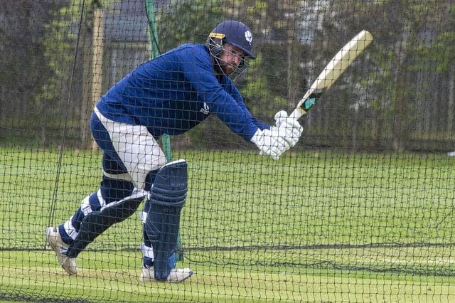 Oli Hairs practises at Goldenacre as Scotland gear up for the new season. Picture: Lisa Ferguson