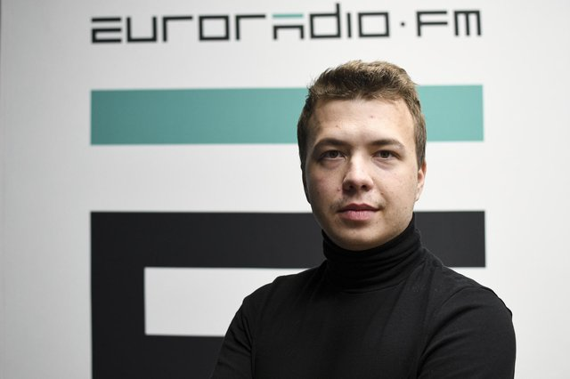 Belarus journalist Roman Pratasevich was arrested after Belarussian authorities forced a flight from Greece to Lithuanian to land in their territory (Picture: Euroradio via AP)