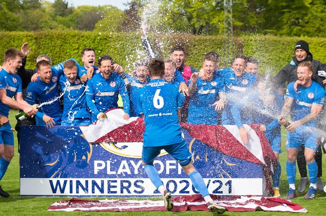 Kelty Hearts celebrate their promotion to League 2.