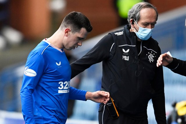 Rangers midfielder Ryan Jack has not played since walking off with an injury during a match against Dundee United at Ibrox on February 21 (Photo by Rob Casey / SNS Group)