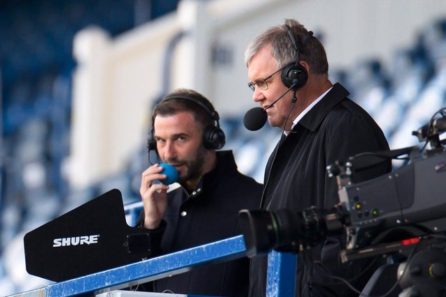 Clive Tyldesley commentating on Rangers v St Mirren with Kevin Thomson. Picture: Willie Vass/Getty Images