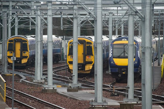 Most ScotRail trains will remain in depots on Sunday when fewer than 15 per cent of services are due to operate. Picture: John Devlin