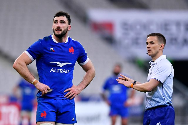 Referee Luke Pearce explained his decisions clearly to France captain Charles Ollivon and his Welsh counterpart Alun Wyn Jones. Picture: Aurelien Meunier/Getty Images