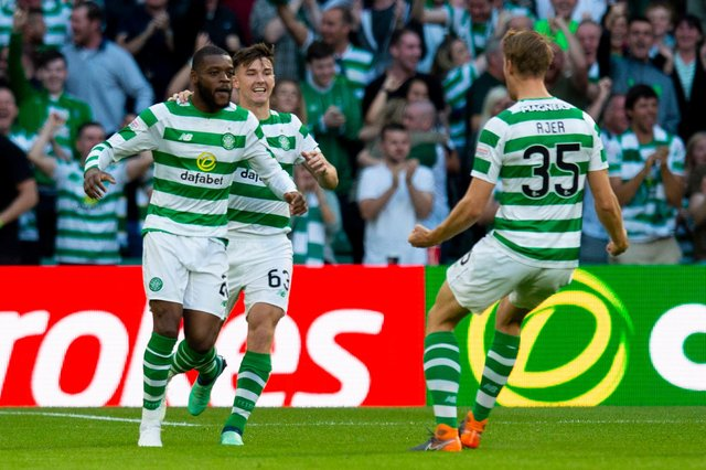 Olivier Ntcham and Kristoffer Ajer (right) have been linked with moves away from Celtic this summer. Picture: SNS