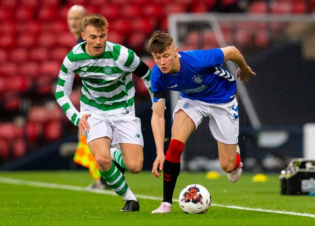 Celtic's Brody Paterson (left) competes with Rangers' Nathan Patterson  - could similar be coming to the Lowland League? (Picture: SNS)