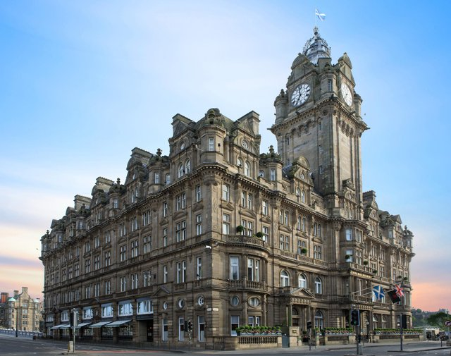 The Balmoral hotel on Princes Street, with its iconic clock tower, is a city landmark.