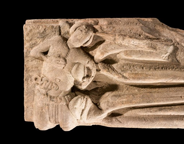 The carving shows a much smaller figure complete with gash wound and hanging entrails and is believed to be the assasin of the abbot. PIC: HES.