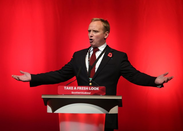 Gary Smith from the GMB union speaking during a debate at a Scottish Labour conference.