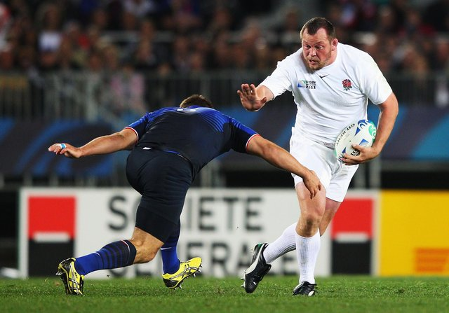 England international Steve Thompson, seen during the 2011 Rugby World Cup, has early-onset dementia and now wishes he never became a professional rugby player (Picture: David Rogers/Getty Images)