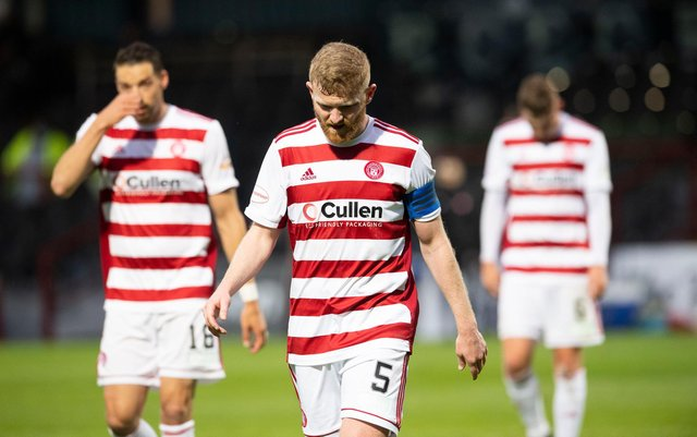 A dejected Brian Easton walks off the park at full-time. Picture: SNS