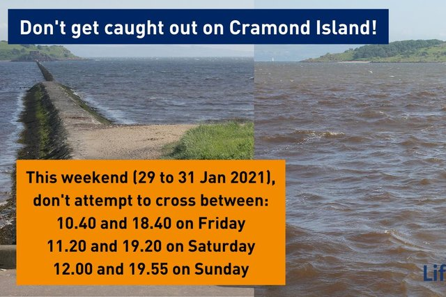 People are being urged to avoid walking out to Cramond Island this weekend.